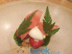 Macerated strawberries, buttermilk custard, sweet cicely, yoghurt From Simon Rogan @ The French – 'Dig The City' Menu