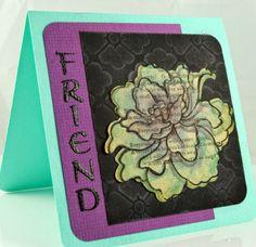 Dreamweaver Stencils and Stampendous collaboration week: Friendship card by Pam Hornschu.