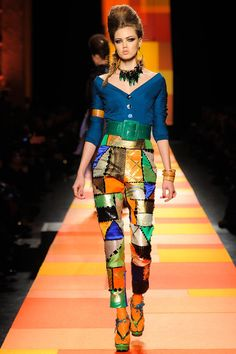 Totally in love with this look from Jean Paul Gaultier Spring 2013 Couture Collection! The mixture of blue and green hues gives a cool feeling and the touch of orange combined well with bronze and gold complementing the rest of the bluegreens make a marvelous color story!