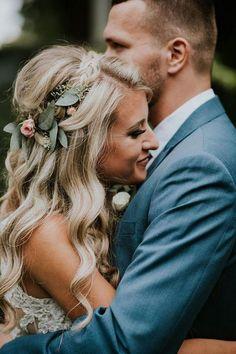half up half down wedding hairstyles with flower crown