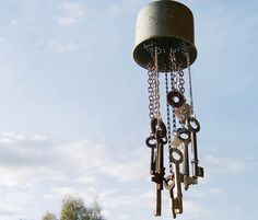 coffee strainer and old key wind chime