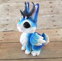 Blue winged jackalope by Dragonsandbeasties