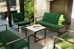 Zestaw nowoczesnym mebli ogrodowych LUKAS II to perfekcyjna propozycja dla osób, które cenią sobie funkcjonalność, elegancję i ponadczasowość. Jego uniwersalny i nowoczesny design będzie znakomitą dekoracją wnętrz mieszkalnych, biurowych, restauracyjnych a także ogrodu lub tarasu. Elegancji meblom LUKAS dodaje pikowane guzikami oparcie. Sofa, Couch, Outdoor Furniture Sets, Outdoor Decor, Home Decor, Settee, Settee, Decoration Home, Room Decor