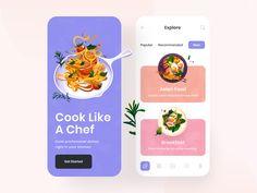 Mobile App Design, Asian Recipes, Banner, Dishes, Cooking, Ux Design, Food, Design Inspiration, Restaurant