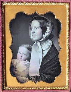 Charles V. Allen of Boston Massachusetts captured this wonderful daguerreotype of a young mother with her child. The beautiful woman wore a pair of spectacles and smiled, showing her teeth. She sat in profile view and wore a pretty bonnet as well as a shawl. | eBay!