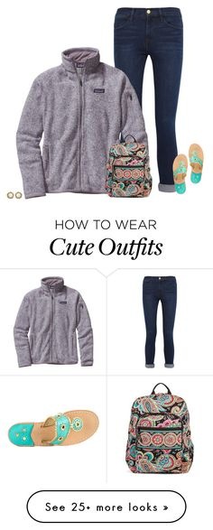 """cute school outfit idea"" by secfashion13 on Polyvore featuring Frame Denim, Patagonia, Jack Rogers, Vera Bradley and Kendra Scott"