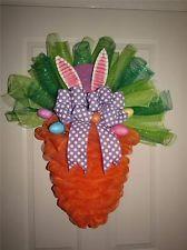 """Easter Carrot Deco Mesh Wreath Bunny Ears~Bow~Eggs  25"""" x  30"""""""