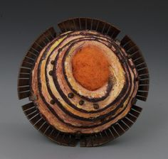 Annie Pennington  'Diatom Series: Cyclotella stelligera.' Brooch. Copper, Steel, Clay, Wool, Colored Pencil. 1-1/2in.