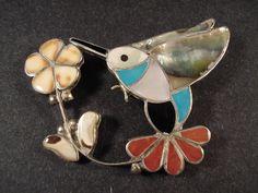 Vintage Zuni Inlay Turquoise Coral MOP Hummingbird Silver Pin Pendant Old Pawn | eBay