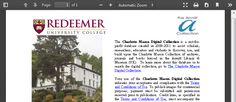 Welcome - Charlotte Mason Digital Collection (CMDC) - Guides at Redeemer University College