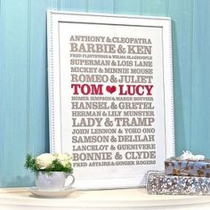 DIY wedding gift idea. Except I'd change a few of the couples up & weren't Hansel and Gretel siblings?!
