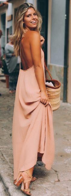 Blush Sexy Maxi Dress Mallorca Weekend Fall Streetsyle Inspo by Natasha Oakley
