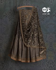 SwatiManish Lehengas SMF LEH 140 18 Grey threadwork sequin lehenga with matching dupatta and blouse Indian Lehenga, Bridal Lehenga Choli, Ghagra Choli, Indian Bridal Outfits, Indian Designer Outfits, Pakistani Dresses, Indian Dresses, Indian Clothes, Indian Attire