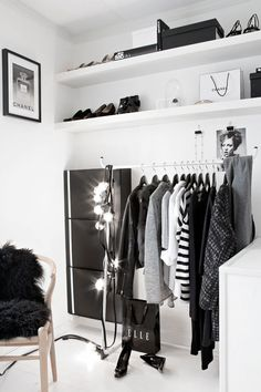 No huge walk-in closet needed—a simple clothing rack and shelves can be just as swoon-worthy. Courtesy Pinterest via Stylizmo Blog  - ELLE.com