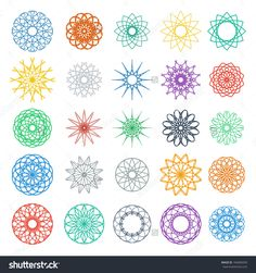 Round Color Ornament Set. Vector Spirographs Collection - 184689299 : Shutterstock