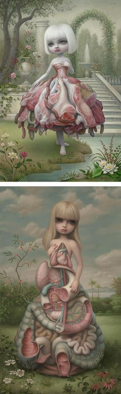 Mark Ryden's work always has a very hazy, dreamy aesthetic. His work primarily features pallid young girls with grotesque features within the portrait. I like his refined colour palette of mainly pastel colours which are used in such a way that makes the painting feel dull and gloomy. The figures always have puffy eyes and sad features which make them morbidly alluring. There is almost always a palette of fleshy pinks used, and is used in such a way that there is extreme depth in the…