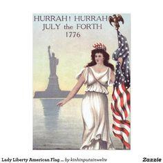 Lady Liberty American Flag Statue of Liberty 5x7 Paper Invitation Card