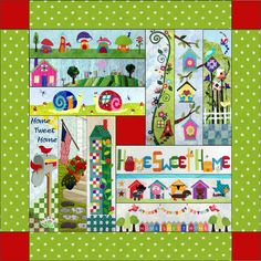 A Taste of Home Sweet Home Quilt - this might be a good layout for a Row by Row quilt. Row By Row 2016, Row House Design, Basting A Quilt, Row By Row Experience, Bird Quilt, House Quilts, Taste Of Home, Quilt Kits, Applique Designs