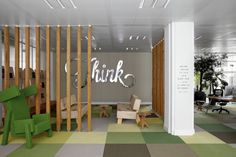 Office & Workspace, Creative Design and Decoration of JWT Amsterdam Office: Stanchions With Tree Model