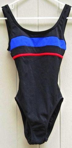 Anne Klein Black Swimsuit Blue and Red Stripe Size 6 Free Shipping #AnneKlein #OnePiece #Spring