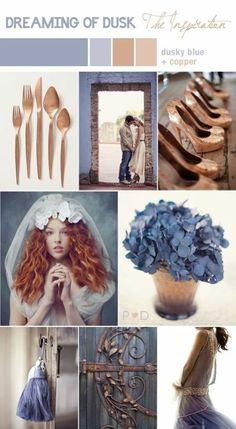 Un lunedì da PIN! - Copper palette blue and copper - Wedding Colors Wedding Color Schemes, Colour Schemes, Wedding Colors, Color Palettes, Wedding Flowers, Blue And Copper, Copper Color, Color Inspiration, Wedding Inspiration