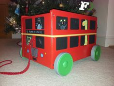 Ikea Flisat Hack - London Bus - pull along toy box