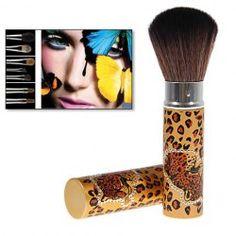 $2.94 Portable Plastic Leopard Pattern Orange Handle Retractable Powder Brush