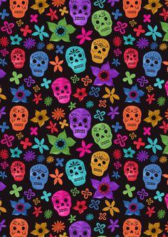 Black Background Sugar Skulls