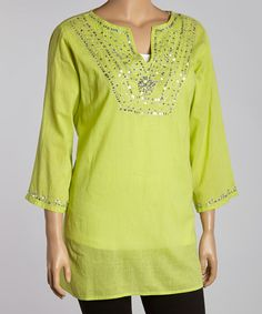 Another great find on #zulily! Lime & Silver Beaded Three-Quarter Sleeve Tunic - Plus #zulilyfinds