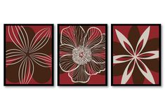 Red Brown Beige Flower Print Set of 3 Abstract by CustomArtPrints