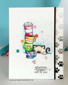 Tatiana Trafimovich, Newton's Nook Designs Newton Loves Coffee and Newton's Antics stamp sets