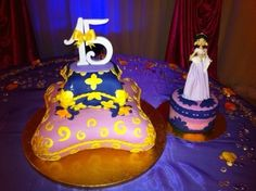 """Sweet 15 Arabian Theme cake - This cake was for an Arabian night theme cake for a sweet 15 birthday party.  this cake was suppose to be three tiers of pillows, the first marble, second rum, and the top tier chocolate fudge and a small cake on the side 6"""" red velvet for Jasmine.  Well we had a mishap 2 blocks away from the venue, and the 2 tier did not make it .  I will post the rest of the story later in the disaster foums."""