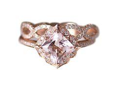 Rlovehome 2PCS Princess Cut 7mm 1.55ct Pink Natural Morganite Diamonds Promise Ring Set Engagement Ring Set Wedding Ring Set Anniversary Ring Set in Solid 14k Rose Gold (J) Rlovehome http://www.amazon.co.uk/dp/B01ANG41H8/ref=cm_sw_r_pi_dp_EU-Wwb0XWGWBR