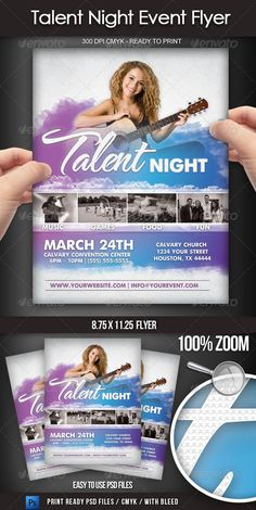 Buy Talent Show Event Flyer by on GraphicRiver. This elegant flyer was designed for a church or youth talent show event. This (with bleed area) 300 dpi CMYK f. Music Flyer, Concert Flyer, Gospel Concert, Worship Night, Flyer Layout, Talent Show, Business Flyer Templates, Premium Fonts, Print Templates