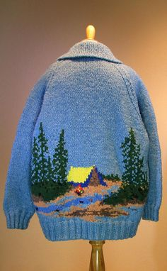 """Items similar to Vintage Heavy Knit """"Campfire Cowichan' Mary Maxim Sweater XL on Etsy Cool Sweaters, Vintage Sweaters, Cowichan Sweater, Yarn Crafts, Swagg, Baby Knitting, Mantel, Crochet Projects, Knitted Hats"""