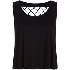 Black Lattice Fringe Back Tank Top ($4.07) ❤ liked on Polyvore featuring tops, shirts, tanks, crop tops, sleeveless tank, cropped shirts, fringe shirt, fringe tank top and crop tank