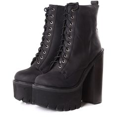 Jeffrey Campbell Syndicate Black Platform Boots ($250) ❤ liked on Polyvore featuring shoes, boots, black, black lace up shoes, side zipper boots, black boots, block heel boots and wooden shoes
