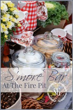 S'more Bar By The Firepit-easy entertaining and fun food. Lots of ideas to incorporate yourself! stonegableblog.com