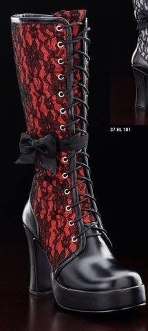 Theses Red Heeled boots with black lace overlay are so pretty. Dark Fashion, Gothic Fashion, Fashion Shoes, Style Steampunk, Steampunk Fashion, Steampunk Boots, Victorian Steampunk, Crazy Shoes, Me Too Shoes