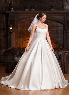 Ball-Gown Scoop Neck Cathedral Train Satin Wedding Dress With Ruffle Isabelle Lightwood, Cathedral Train, Wedding Party Dresses, Special Occasion Dresses, Wedding Inspiration, Wedding Ideas, Marie, One Shoulder Wedding Dress, Ball Gowns