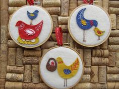 For the kitchen? Embroidery Hoop Art  Hen and Chick set of 3 by TheFishBox on Etsy, $20.00