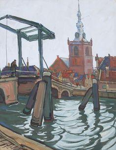 Emil Rizek (1901-1985). Gezicht op Overschie, met de Overschiese kerk en op de voorgrond de Hoge brug over de Schie. 1945. Gouache