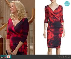 La Petite Robe di Chiara Boni Floral Tie-Dye Dress in Winter Blossom Red worn by Katherine Kelly Lang on The Bold & the Beautiful