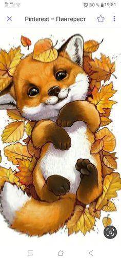 Unique Drawings, Art Drawings Sketches, Cute Drawings, Baby Animal Drawings, Happy Paintings, Fox Art, Cute Anime Pics, Cute Illustration, Animal Paintings