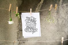 Cards, Stationary — Thank You for the Small Things — Hand Lettered, Custom Typography — 20 Pack, Includes envelopes