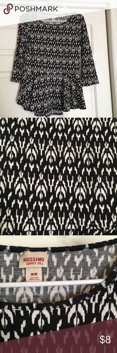 Black and white patterned peplum top Great condition! Long sleeve cotton peplum top from target Mossimo Supply Co Tops Blouses