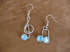 blue MUSIC NOTE EARRINGS wirewrapped nicklefree by chatnoir77