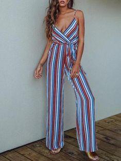 306eac8d73d5 Striped Spaghetti-neck Wide Leg Long Jumpsuits Beach Jumpsuits