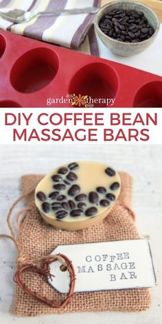 Solid massage bars are a great way to soften skin without the mess of massage oil. The beeswax, cocoa butter, and coffee beans add so much fragrance to this recipe that no additional essential oils are needed for aroma. The soothing scent combination, skin-nourishing ingredients, and relaxation of a massage all come together in these coffee bean massage bars for an at-home spa experience that will make weary muscles and minds feel renewed. #gardentherapy #naturalskincare #homeapothecary Lotion Bars, Coffee Roasting, Massage Oil, Combination Skin, Cocoa Butter, Coffee Beans, Muscles, Essential Oils, Fragrance
