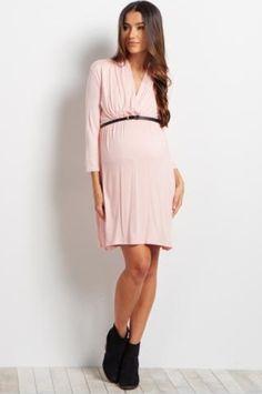 Light pink belted maternity dress https://glowngrow.boutique